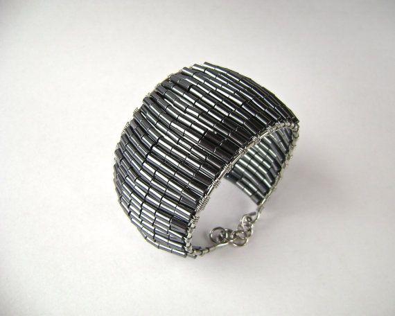 Hematite Bracelet Gemstone Bangle Wire Wrapped Black by MariesGems