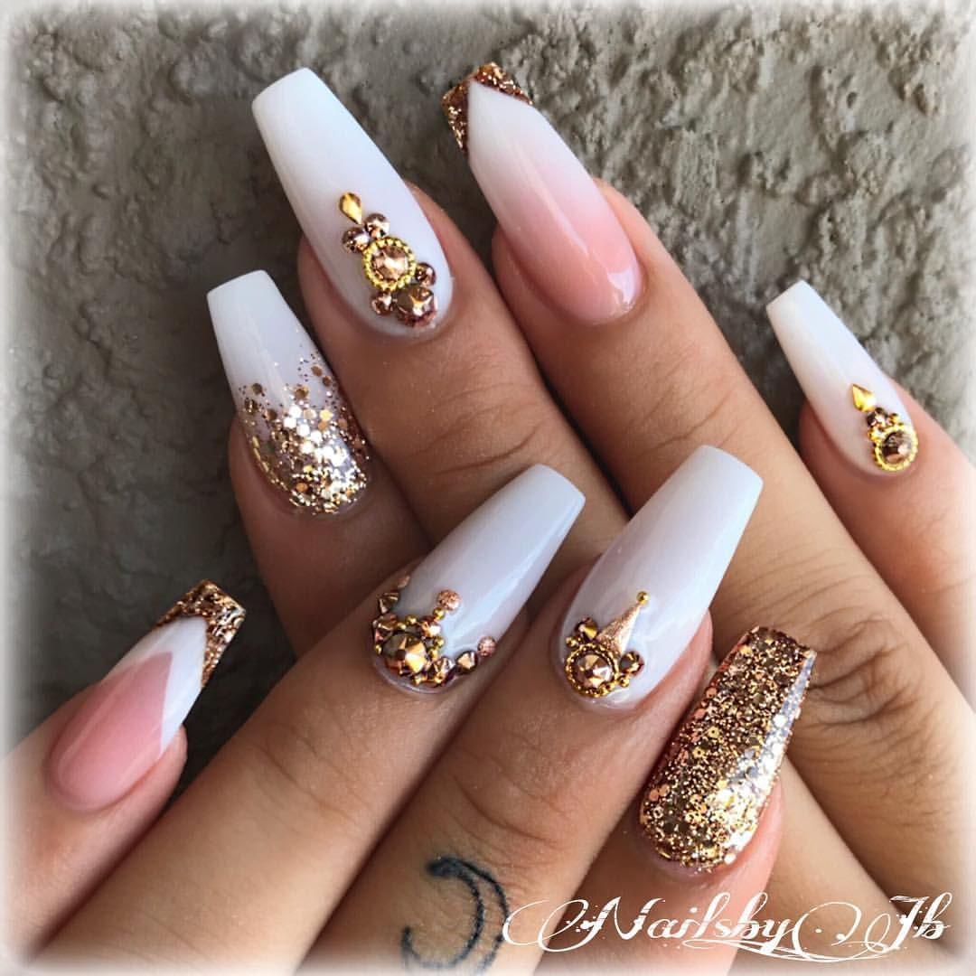 Nails Unas Acrylicnails Whitenails White Gold Glitternails Swarovskinails Instanails Ballerinanai Mauve Nails White Nail Designs Coffin Nails Designs