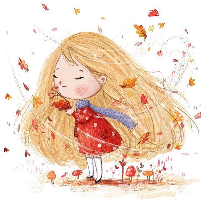 Znalezione obrazy dla zapytania autumn girl cartoon