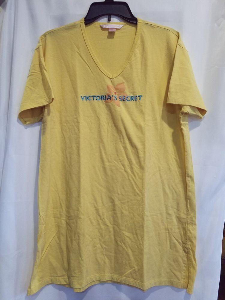 05e9c8a56d72 Victorias Secret M medium Womens Nightgown Yellow sleep Shirt pajama top  flower  VictoriasSecret  Sleepshirt  Everyday