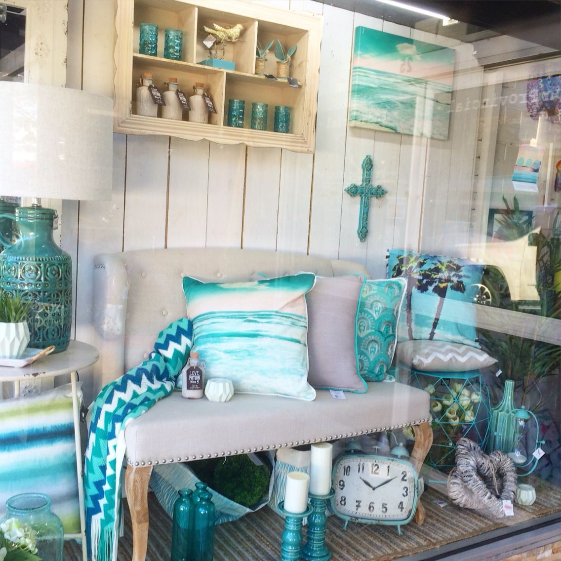 aqua mint blue turquoise window display at our home decor shop in lilydale - Home Decor Melbourne