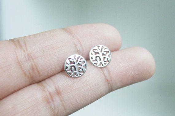 Tree of Life Stud Earrings - Tiny Tree of Life Earrings, Silver Tree Earrings, Tree of Life Jewelry, Filigree Stud Earrings, gift for her