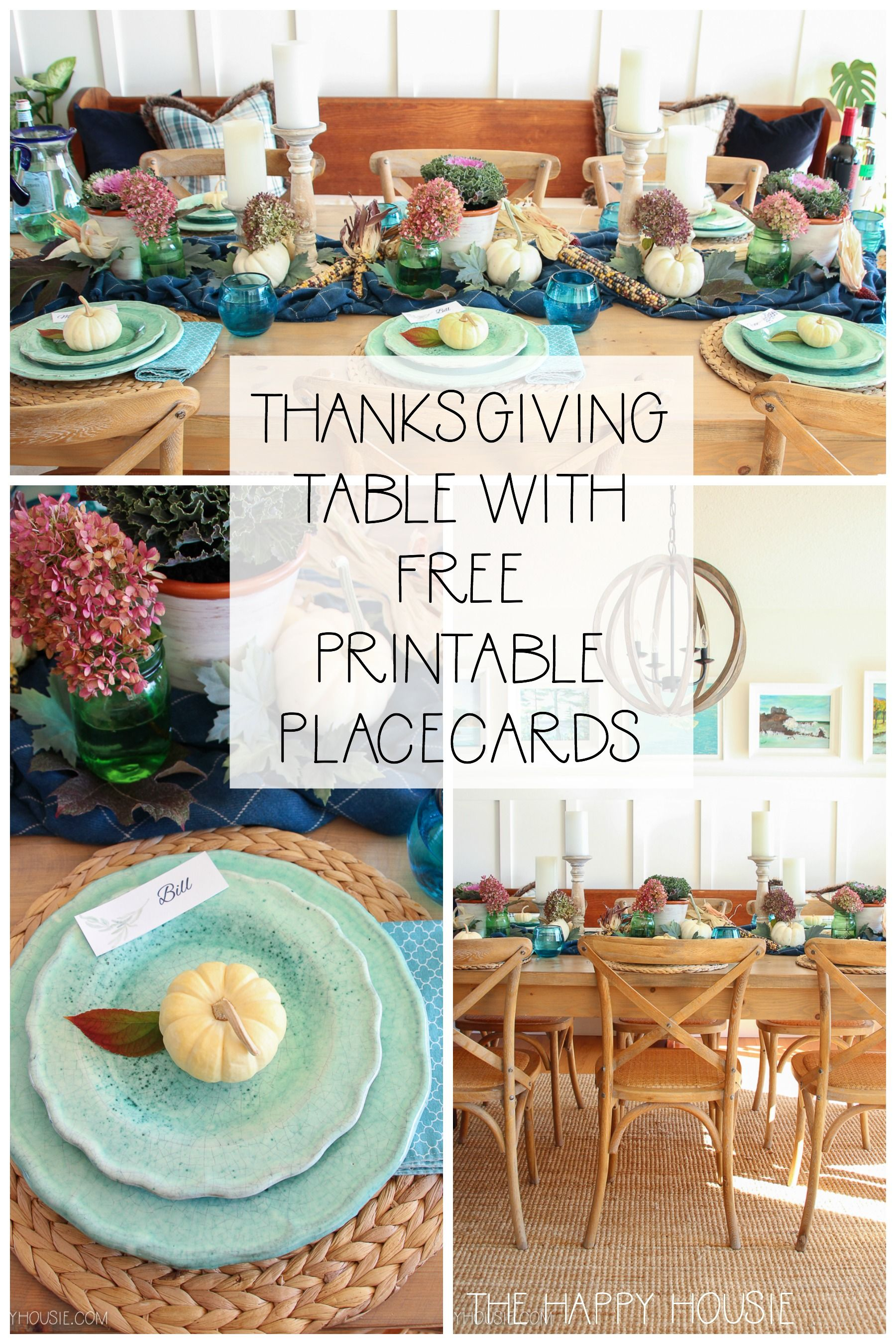 Cozy Plaid Fall & Thanksgiving Tablescape with Printable Place