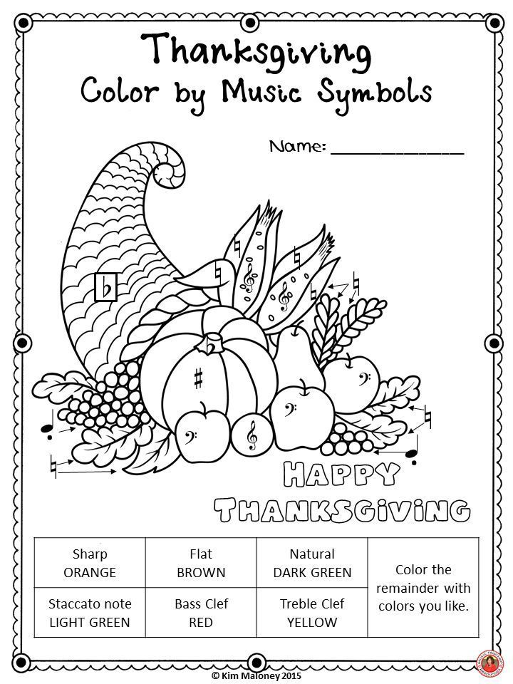 Music Coloring Pages 30 Thanksgiving Color By Music Sheets Music