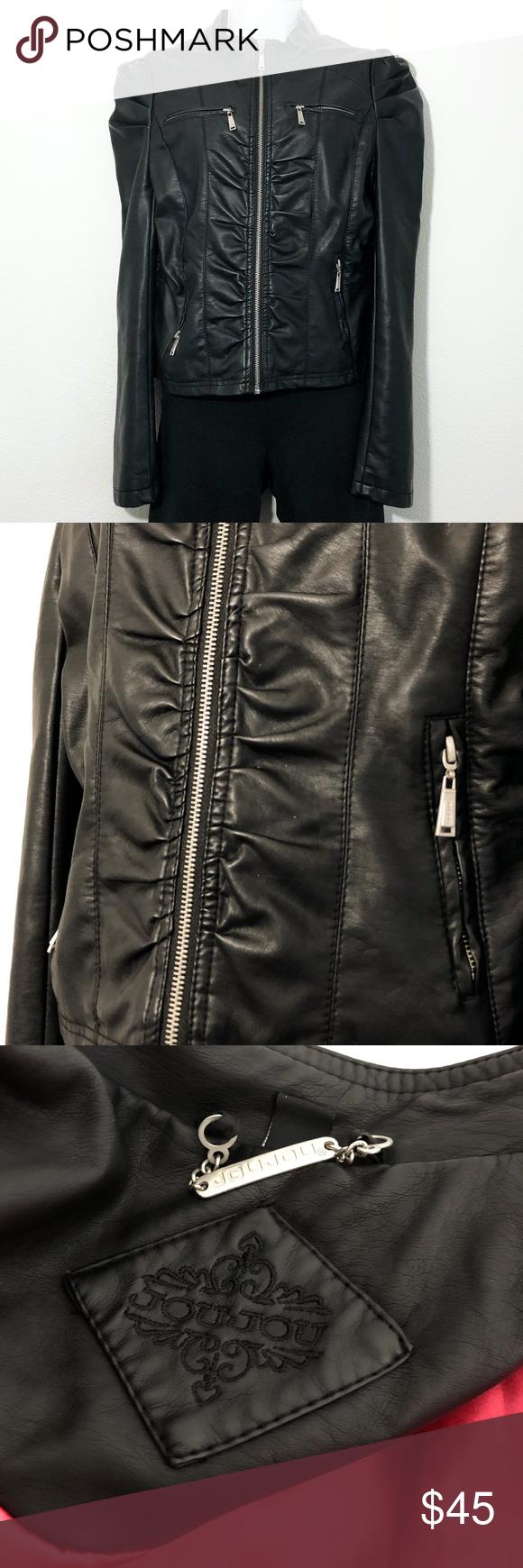 Jou Jou Faux Leather Moto Jacket Ruched Size Large in 2020