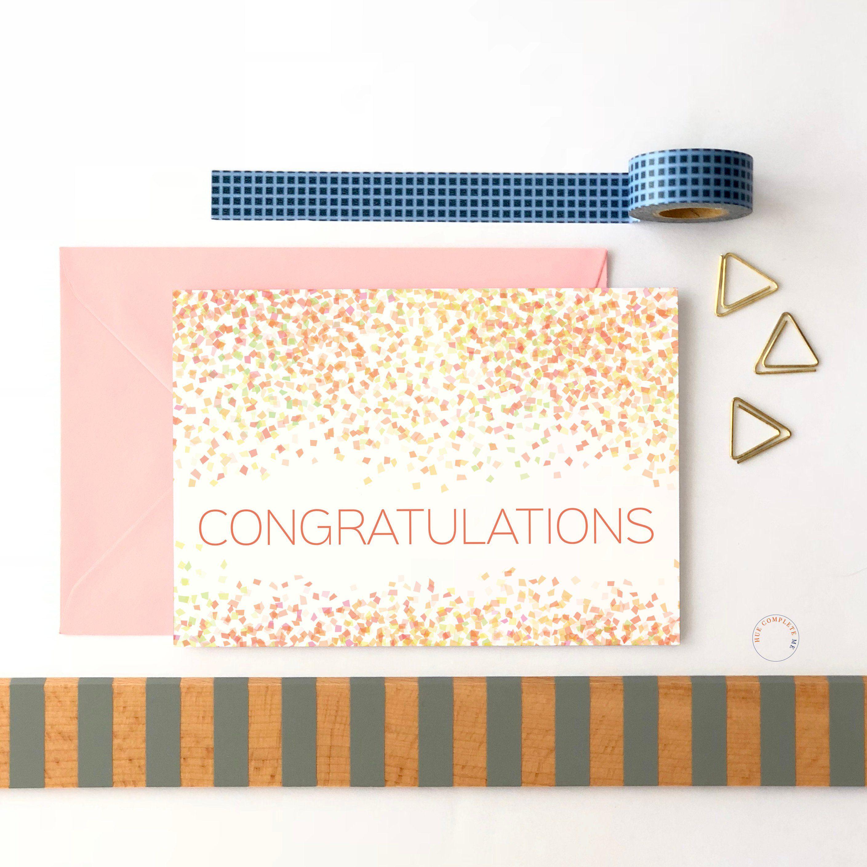 Congratulations Card Congratulations Confetti Celebration Card