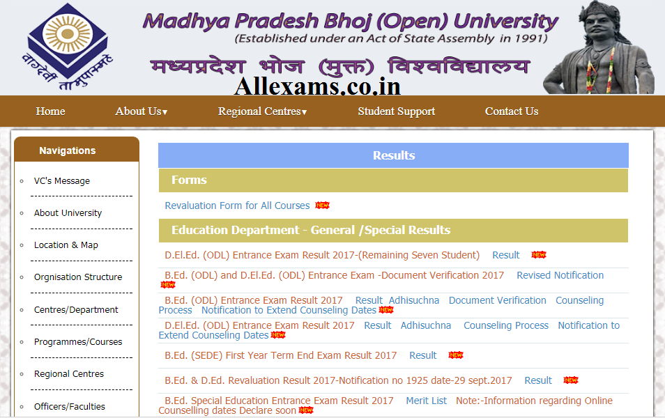 Mp Bhoj Open University Result 2019 University Result University Location Map