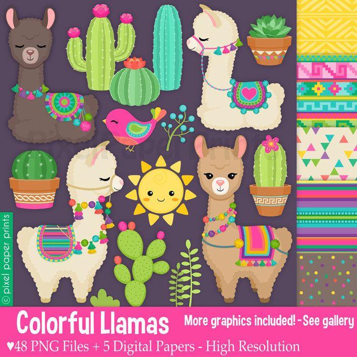 Colorful Llamas Decorated Llama Clipart Alpaca Clip Art Etsy Llama Clipart Llama Drawing Digital Sticker