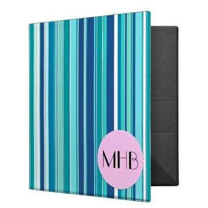 Monogram - Stripes Striped Pattern - Blue Pink Binder - blue gifts style giftidea diy cyo