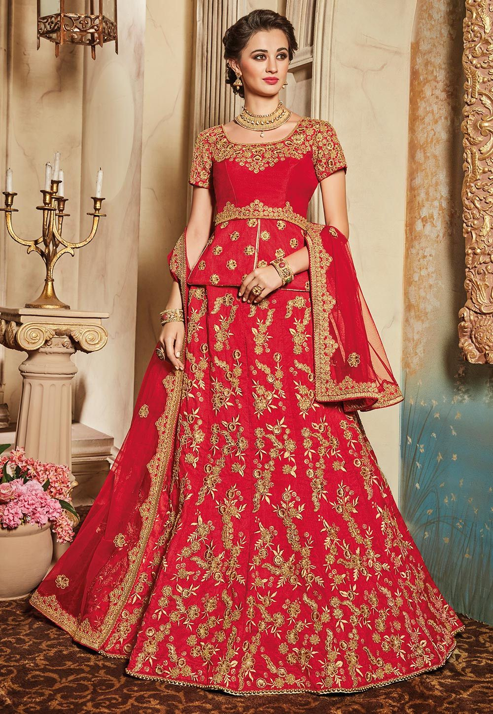 3eed3fad5f Buy online Embroidered Art Silk Circular Lehenga in Red now, Item code:  LTL86, Color: Red, Occasion: Wedding, Fabric: Art Silk, Type: Circular, ...