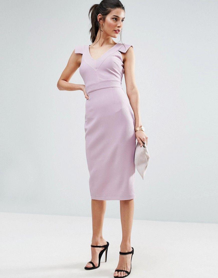 Asos v front v back textured pencil dress purple products