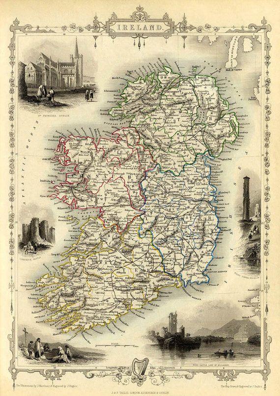 Ireland Map Old Map Of Ireland Old City Map Print Fine Etsy Old Map Ireland Map Irish Genealogy
