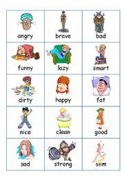 English worksheet: Flashcards - Adjectives (Describing People ...