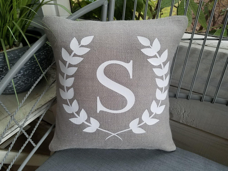 Farmhouse Style Throw Pillows Wreath Vine Burlap Letter Name