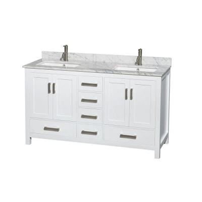 Wyndham Collection Sheffield 60 In Double Vanity In White With
