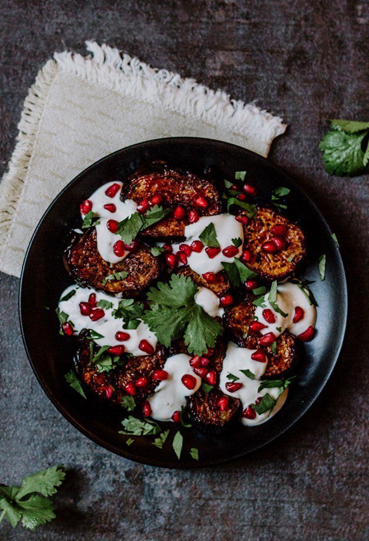 Auberginen mit Granatapfel und Tahini – Rezept aus Israel |Reisehappen #levanteküche