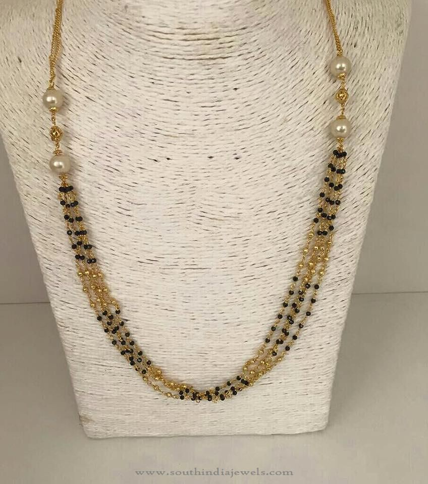1 Gm Gold Black Bead Chain | Gold chain design, Chains and Beads