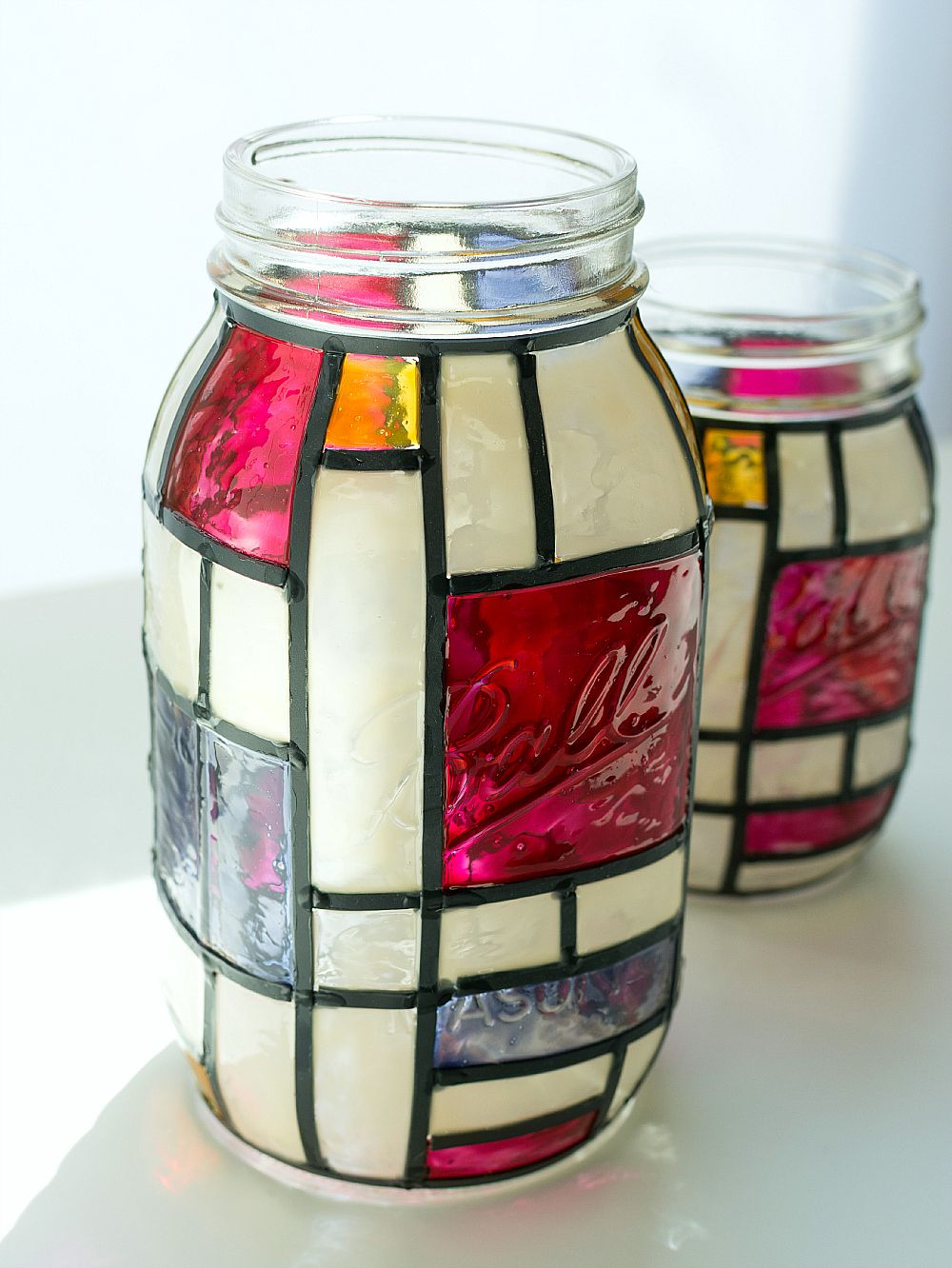 mondrian mason jars mondrian jar and stained glass crafts