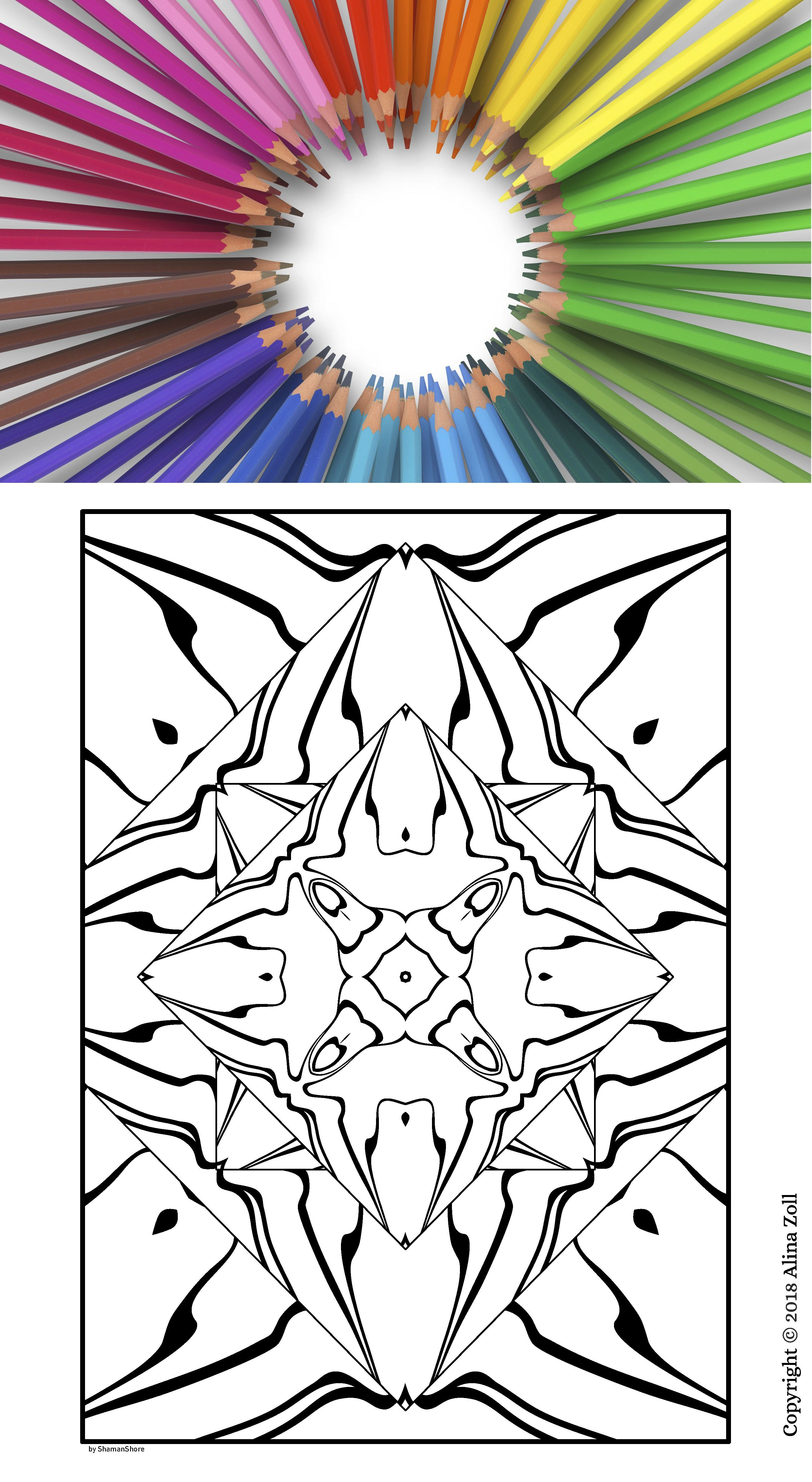 20 Abstract Kaleidoscope Coloring Pages For Adults Printable