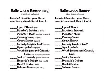 needle in a haystack the crazy halloween dinner traditionrevisited - Halloween Punch Names