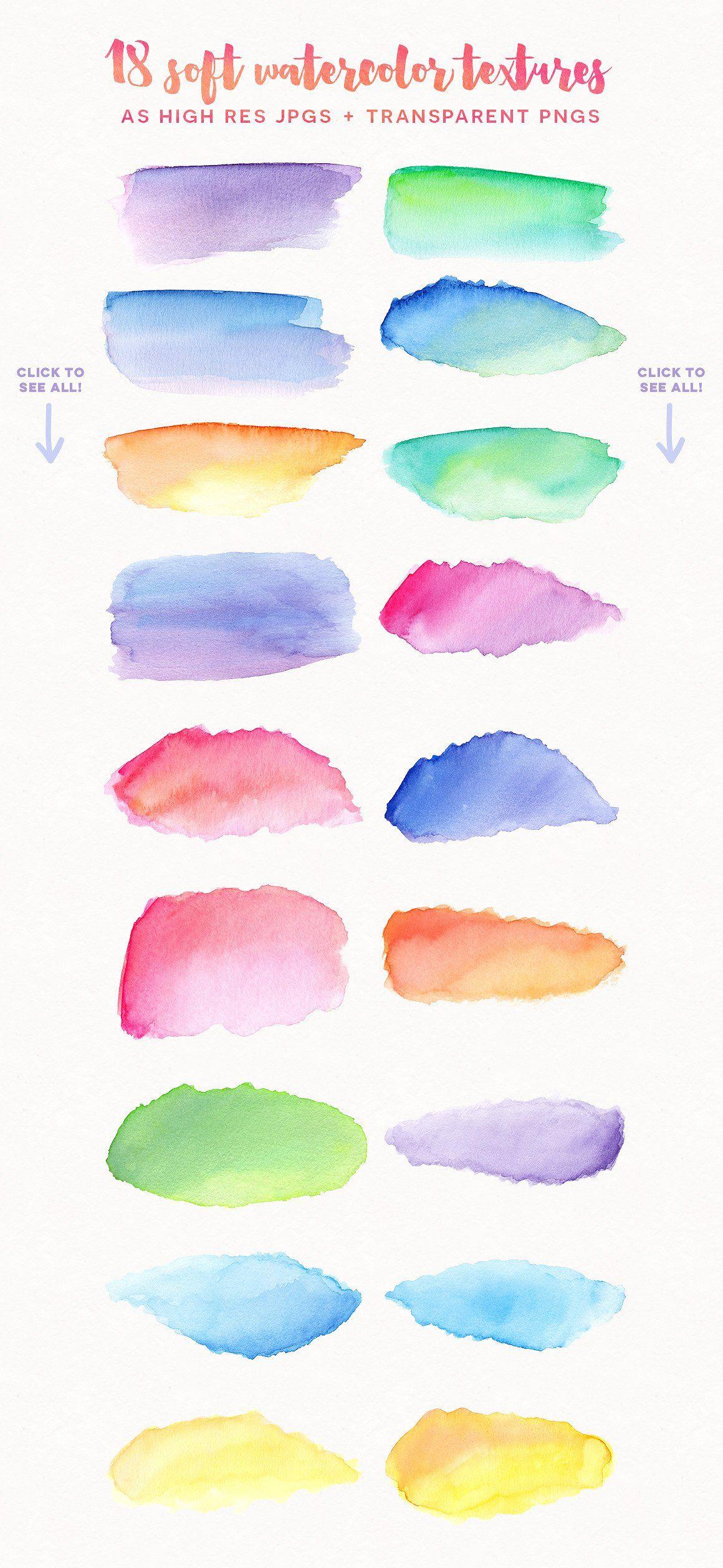 Watercolor Texture Kit Vol 2 Perfect Shaped Logos Circle ศ ลปะ