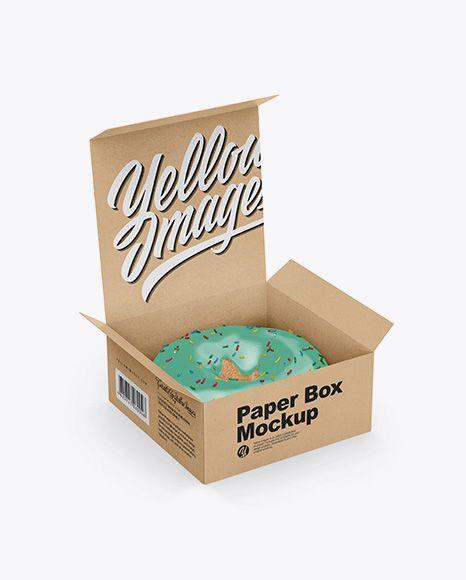 Download Free PSD Mockup Opened Kraft Box With Donut Mockup - Half ...