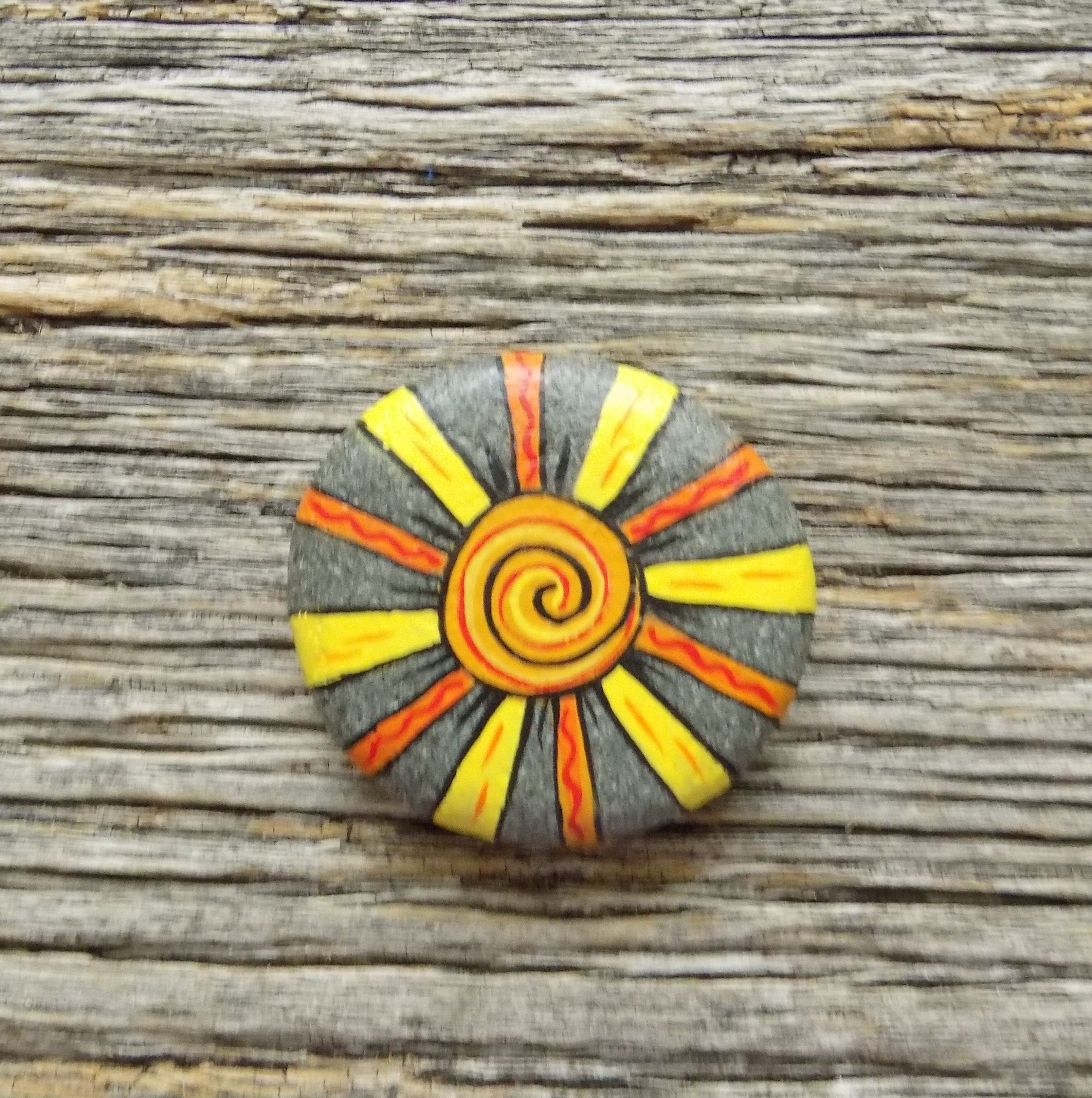 Sun Painted Rock,Decorative Accent Stone, Paperweight