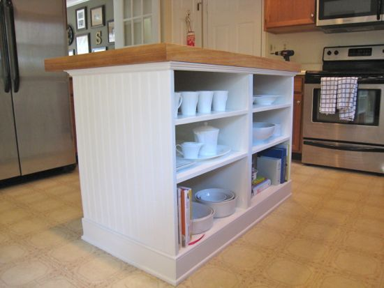 Kitchen Island Open Shelves diy island w/two very basic base cabinets (at ikea) with open