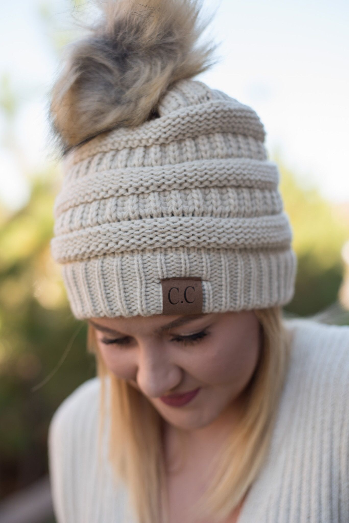 2b0e2fc00 CC solid beanie with fur pom beige in 2019 | CC Beanies, Hats, and ...