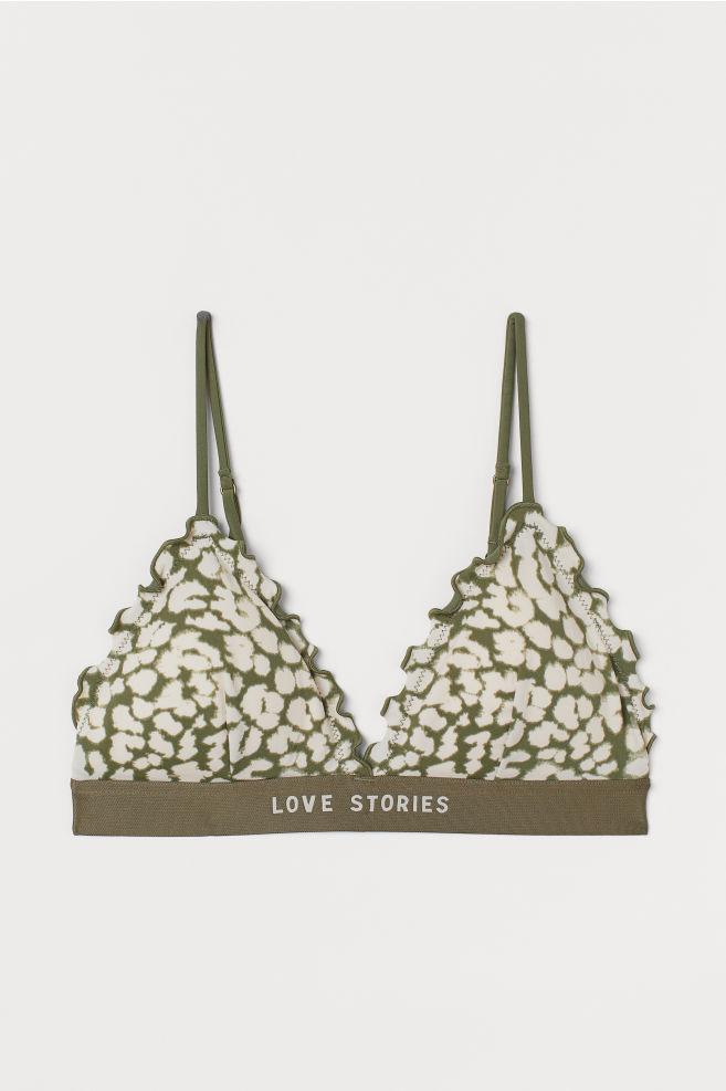 Photo of Top bikini a triangolo imbottito – Verde kaki / stampa leopardo – Donna | H&M US