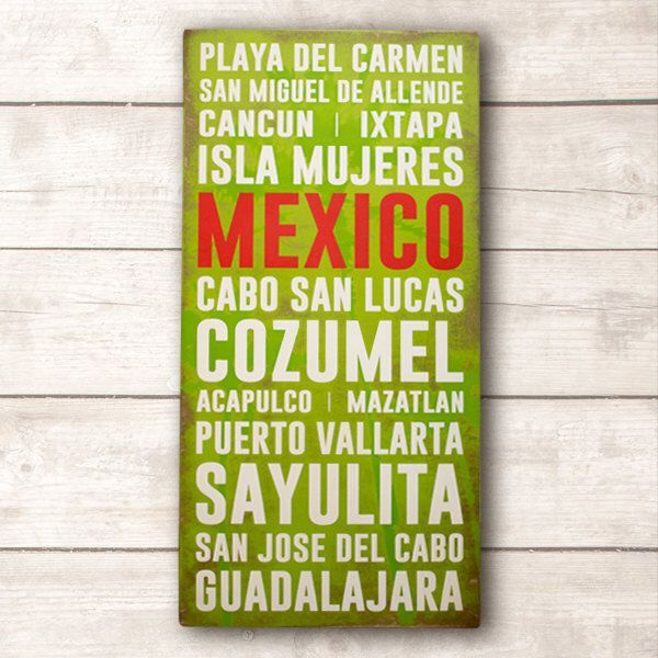 Mexico Wall Art; Mexico Wood Sign; Mexico Travel Destinations Wood ...