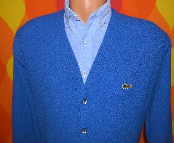 513d2214 70s vintage LACOSTE izod cardigan golf sweater v-neck royal blue ...