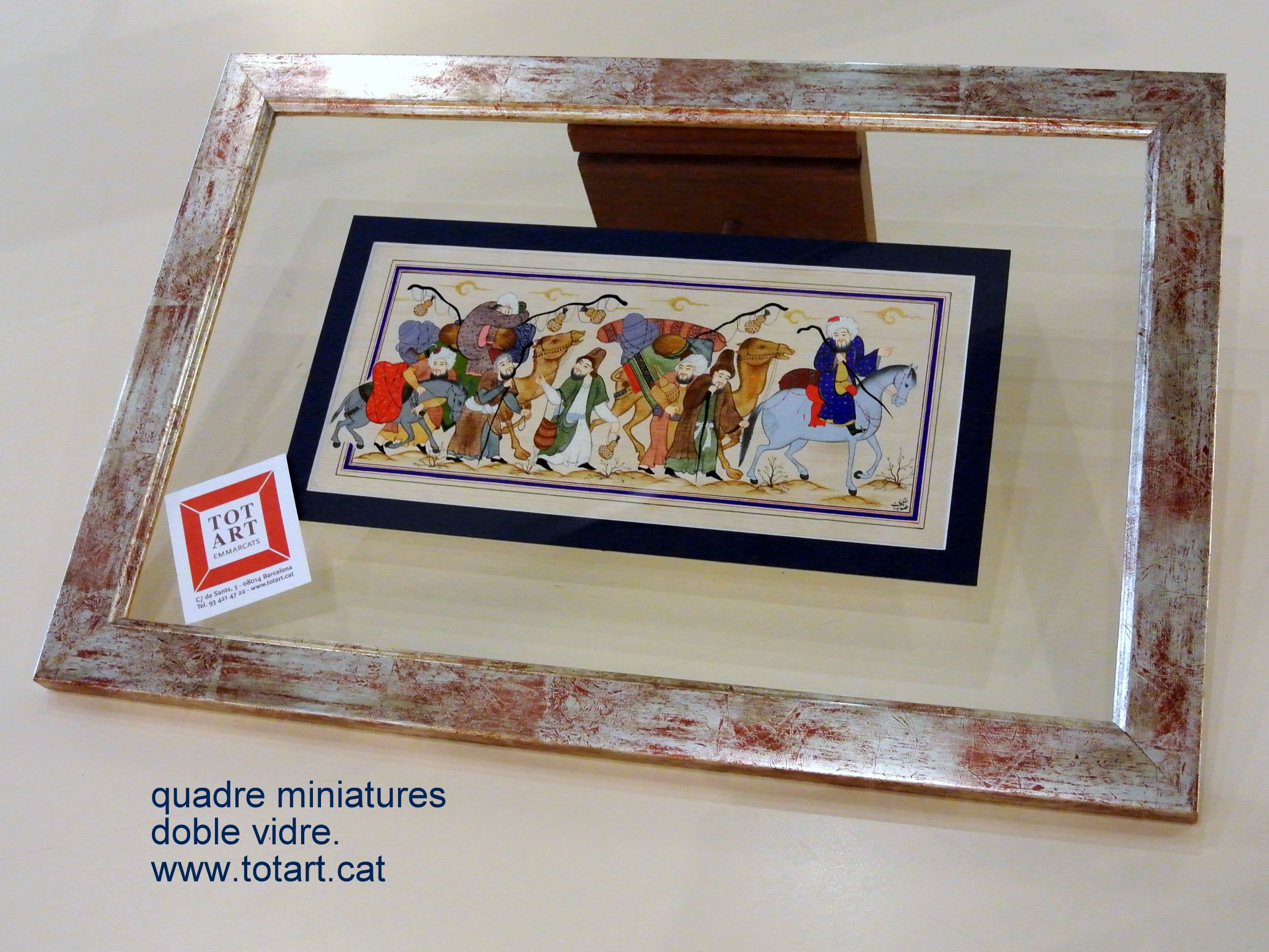 marco para cuadro doble cristal y paspartu azul www.totart.cat ...