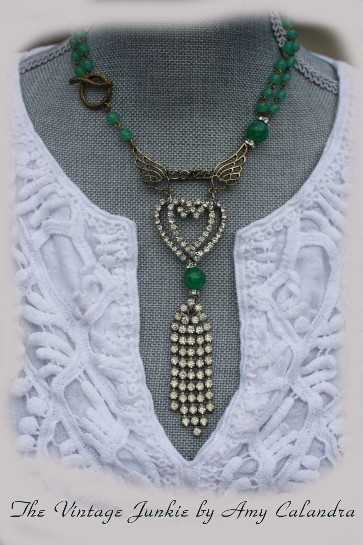 Vintage Jewelry Repurposed...LOVE WHISPERED...assmeblage necklace.... $136.00, via Etsy.