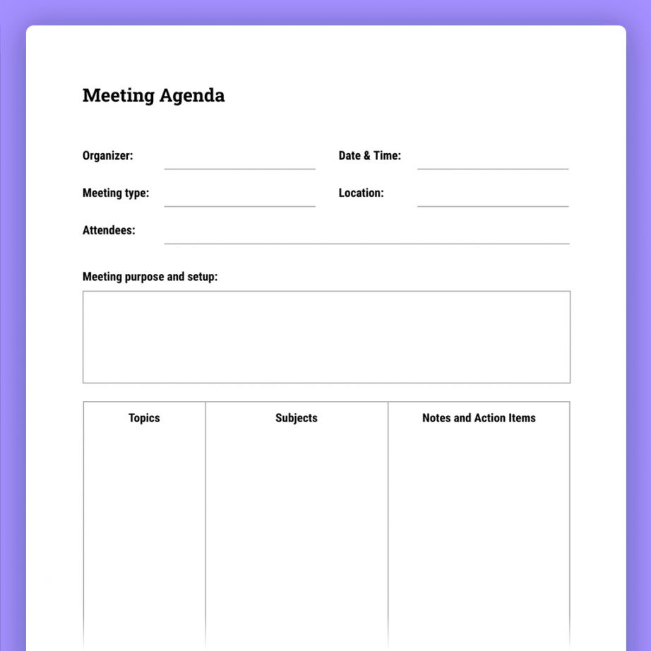 How To Run Effective Meetings With Templates The Moqups Blog Agenda With Notes Template Pdf Notes Template Meeting Agenda Template Agenda Template How to type an agenda