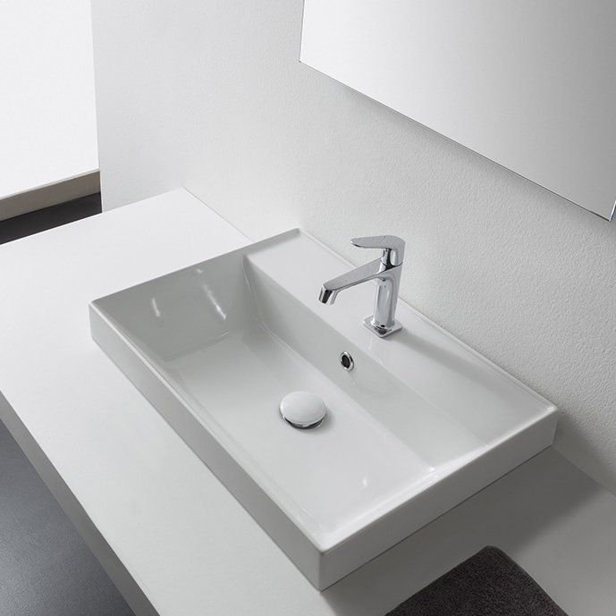 Teorema Rectangular Vessel Bathroom Sink with Overflow with Price