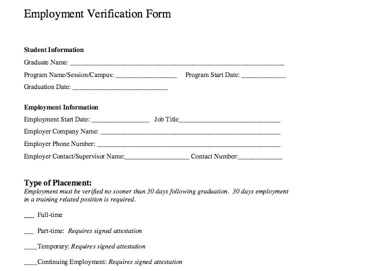 Employment Verification Form Template Word  Microsoft ...