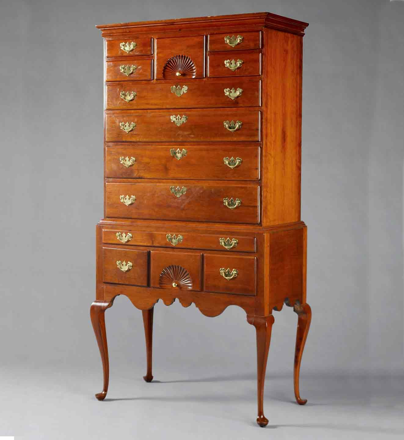Queen Anne Cherry Highboy, Wethersfield, CT, Mid-18th Century - Queen Anne Cherry Highboy, Wethersfield, CT, Mid-18th Century