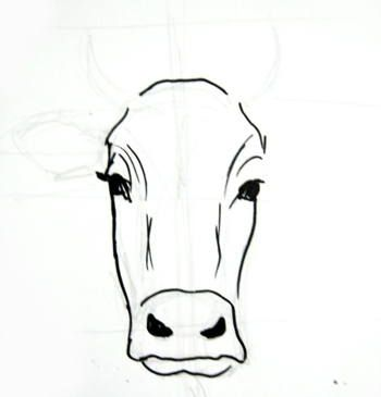 Step By Step Cow Drawing Face Google Search Cow Drawing Cow