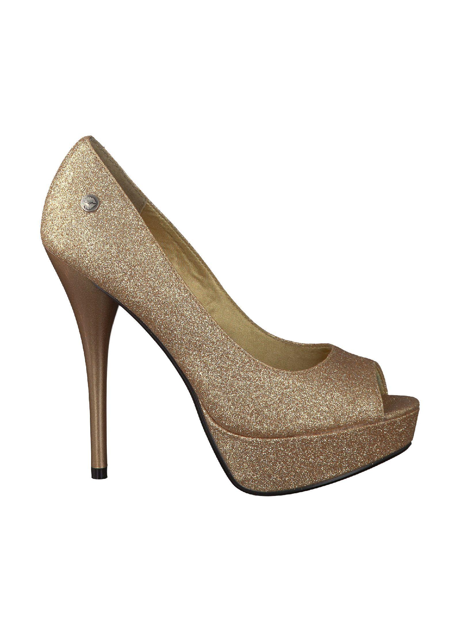 Reno Melrose Pumps, Gold Pumps Damen Schuhe Reno