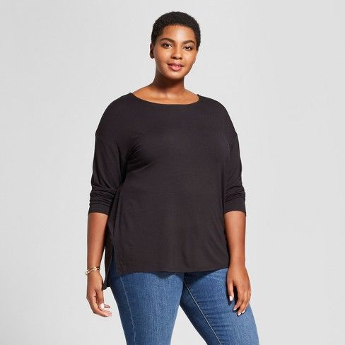 f8367ca047e5c Women s Plus Size Drapey Boatneck Long Sleeve T-Shirt - Ava   Viv™ Black    Target