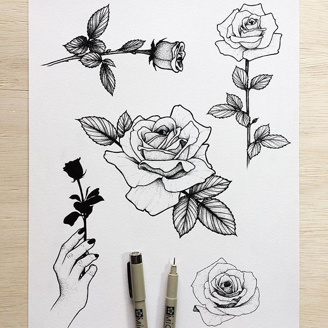 b2ac3bbf4 New Rose flash sheet! I still have a few spots available in December. Email  or message me for rates and booking. #illustration #sketch #drawing  #sketchbook ...
