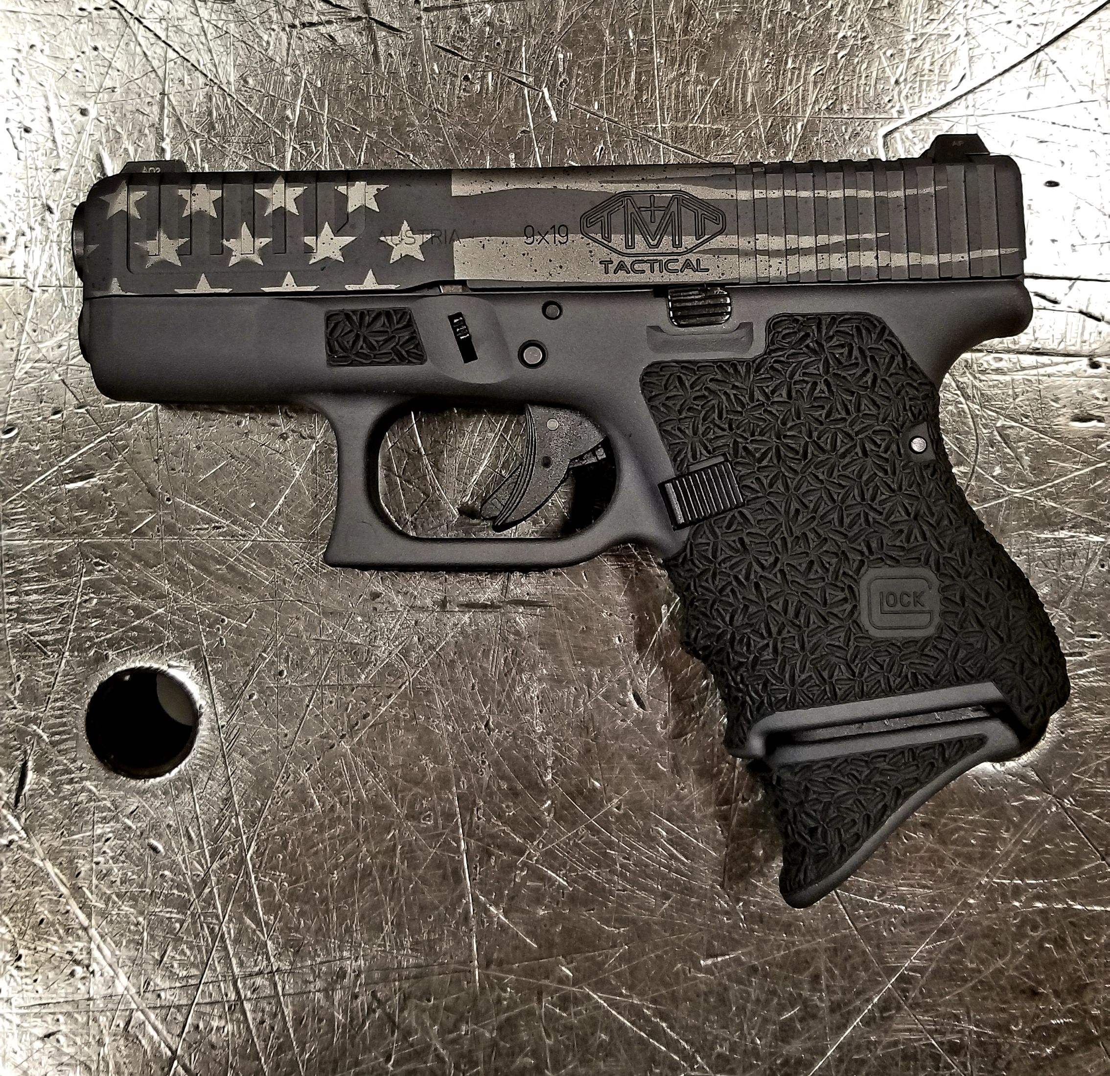 American Flag Glock 26 Custom Cerakote And Stipple Job With