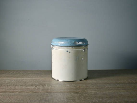 Vintage Biscuit Storage Tin Metal Kitchen Canister Worcester Ware Rustic Container Cream Blue Lid English Aluminium Cookie Box 1950s
