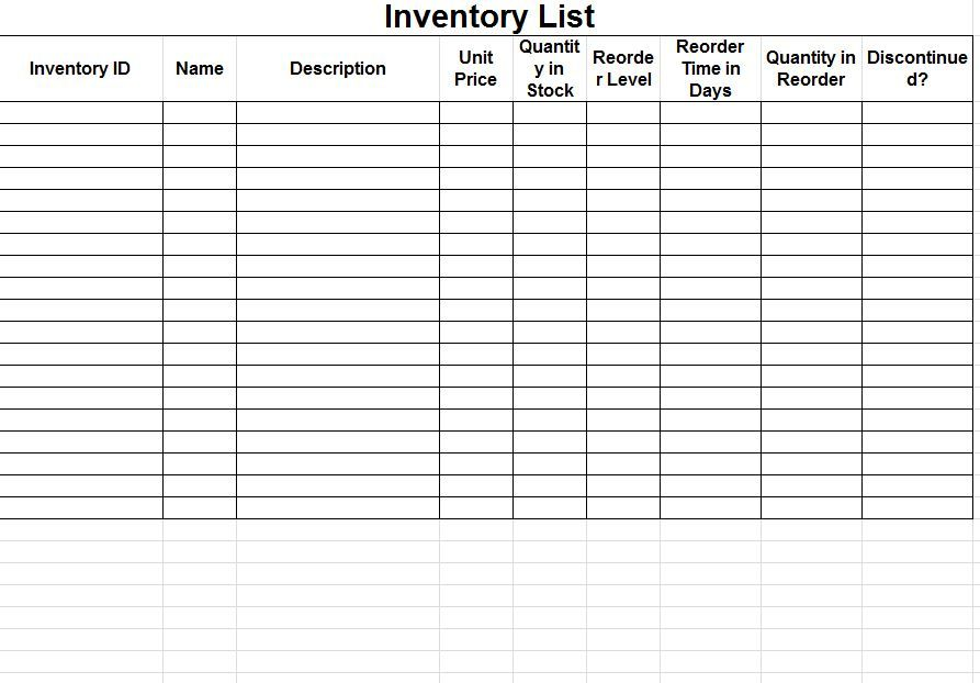 Inventory Tracking Spreadsheet Template Free Inventory