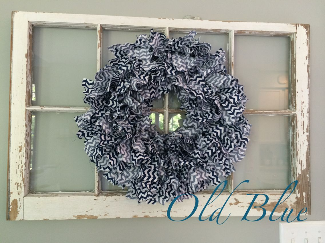 Navy & White/Chevron Fabric Rag Wreath 16\