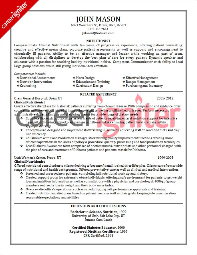 Nutritionist Resume Sample Career Igniter Education Resume Resume Tips Sample Resume