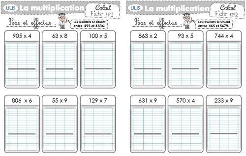 Entrainement multiplication par un nb 1 chiffre - Entrainement tables de multiplication ...