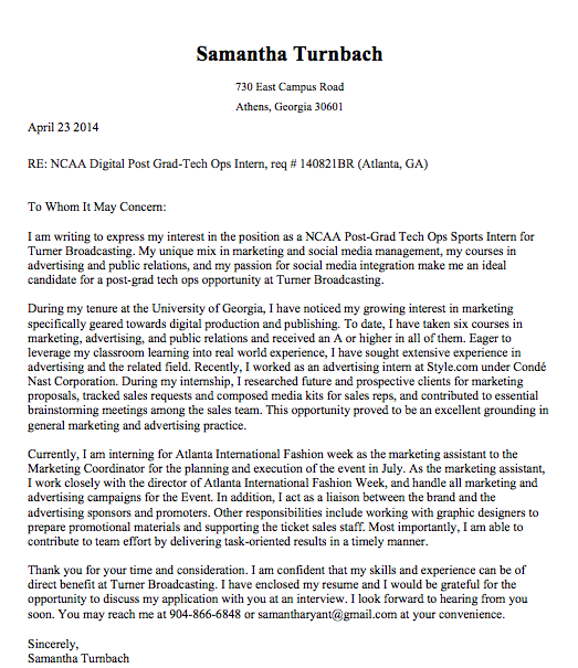 Cover Letter for Turner Broadcasting NCAA Digital Post