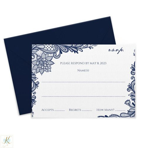 Ornate Lace (Navy) RSVP or Information card template \u2013 Karma K
